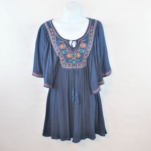 Flying Tomato embroidered boho peasant mini dress